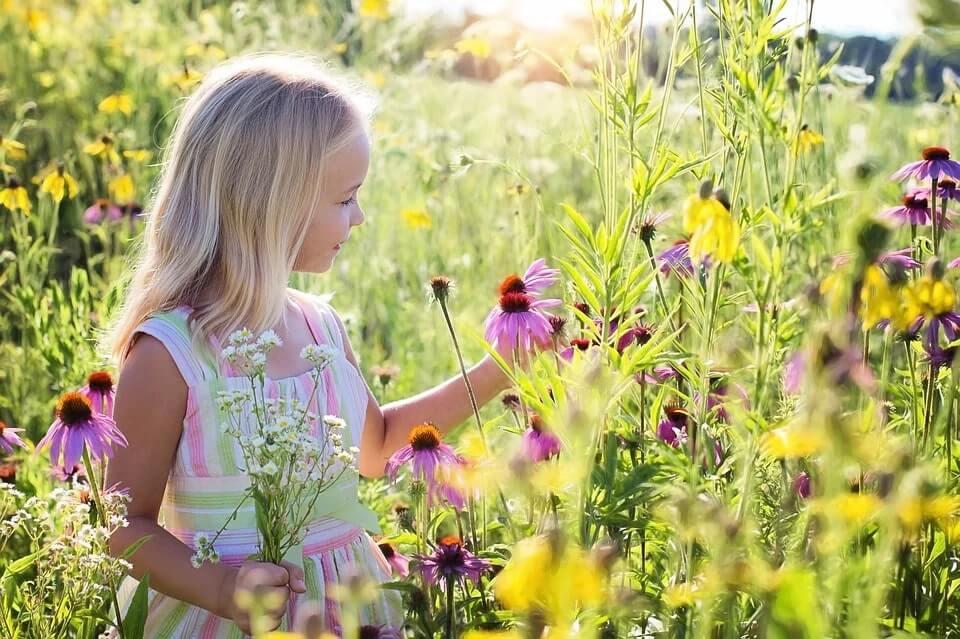 arquétipo inocente representado por uma garotinha colhendo flor
